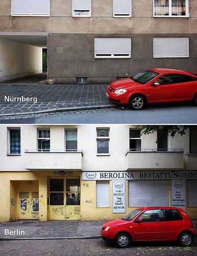Autos vor Gebäuden – Vergleich Nürnberg und Berlin  Cars in front of buildings - Comparaison Nuremberg and Berlin