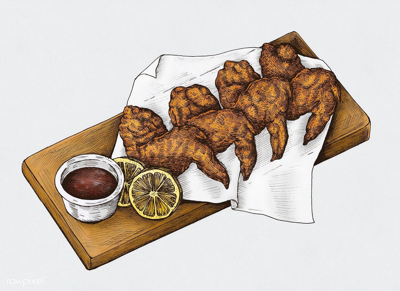 Download Premium Illustration Of Hand Drawn Chicken Wings 410260 Chicken Wings Wings Drawing Wings