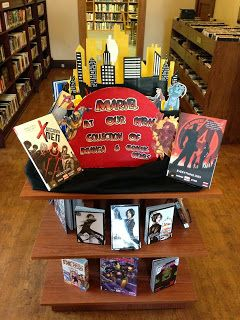 manga and graphic novel teen library display with city scape rh pinterest com