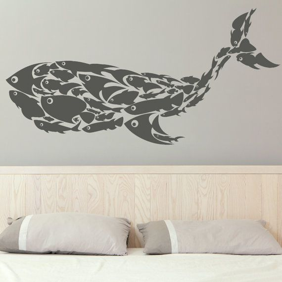 Whale Made Of Fish Wall Sticker Large Decal Transfer