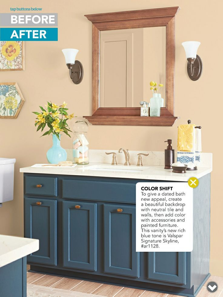 Painted Bathroom Vanity For A Pop Of Color