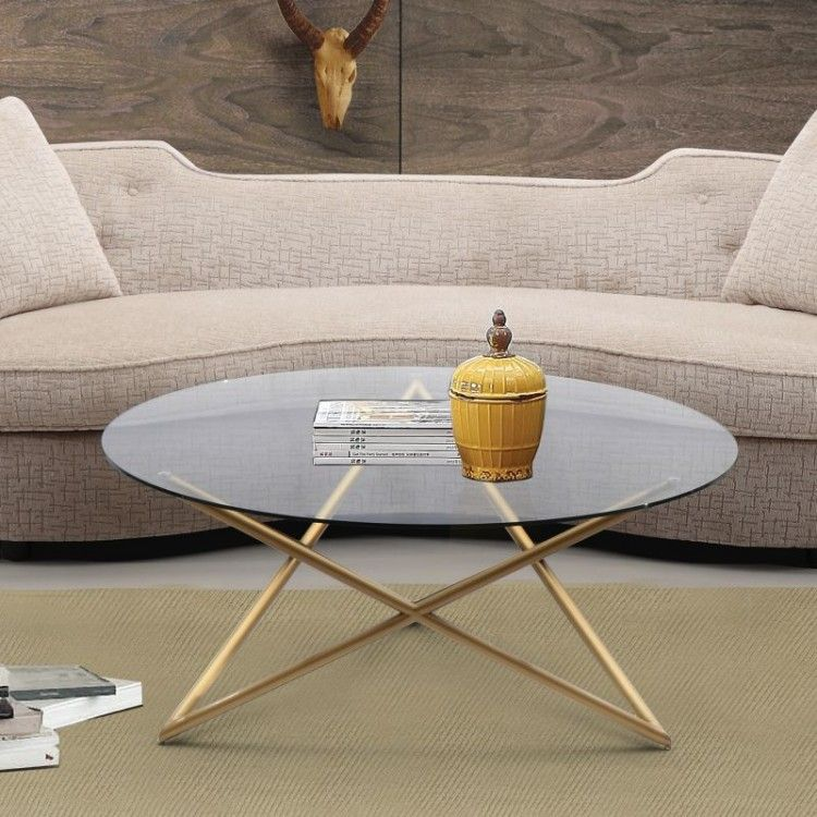 Crest Coffee Table in Brushed Gold finish with Clear Glass top by Armen Living ...