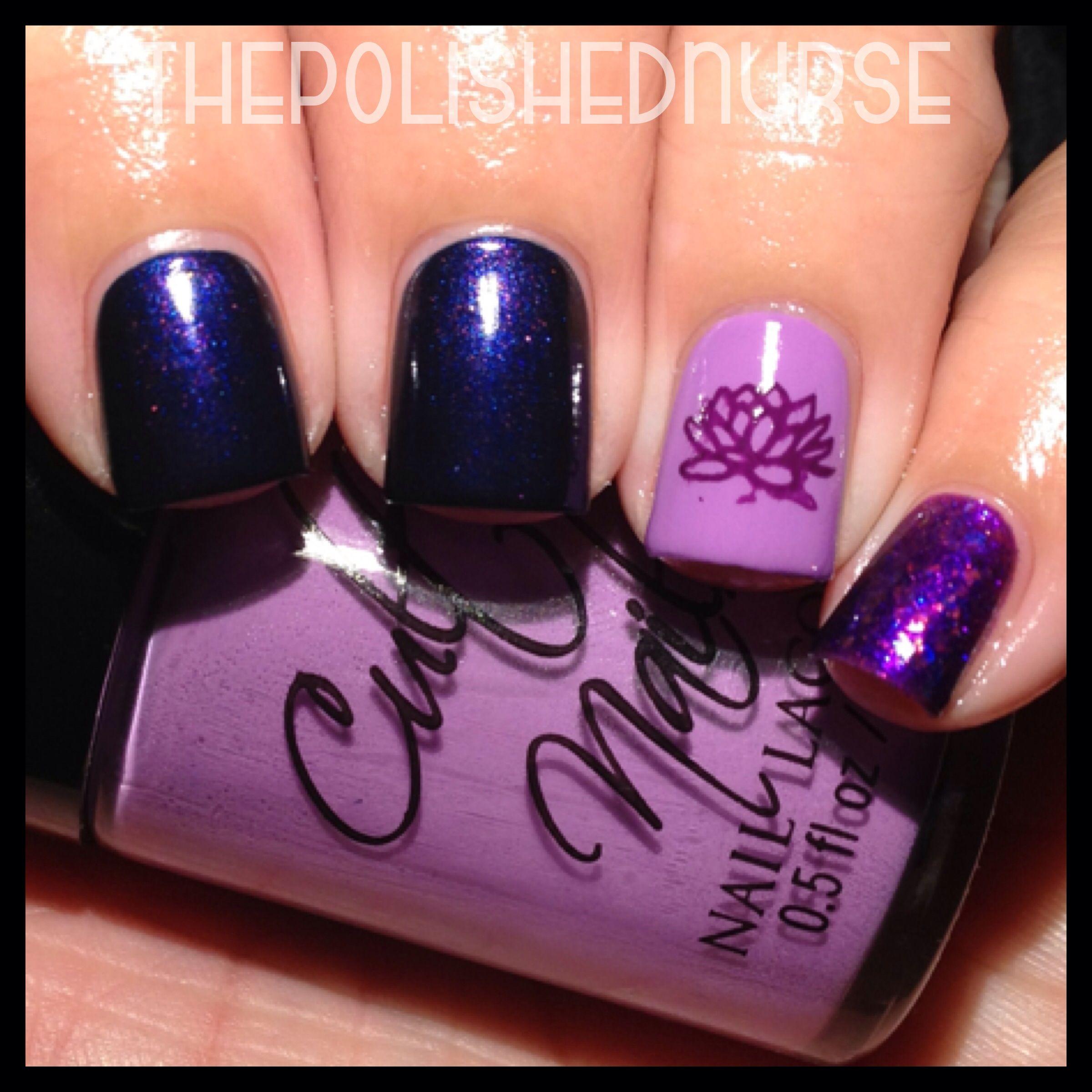 Lotus Flower Purple Nail Art #thepolishednurse #nailart #nails ...