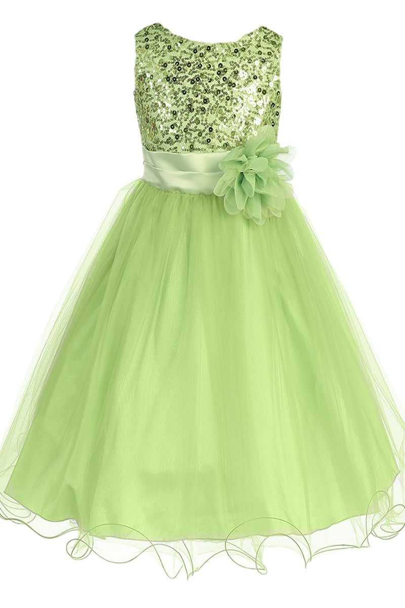 Light green sequins satin u layer mesh formal occasion dress with