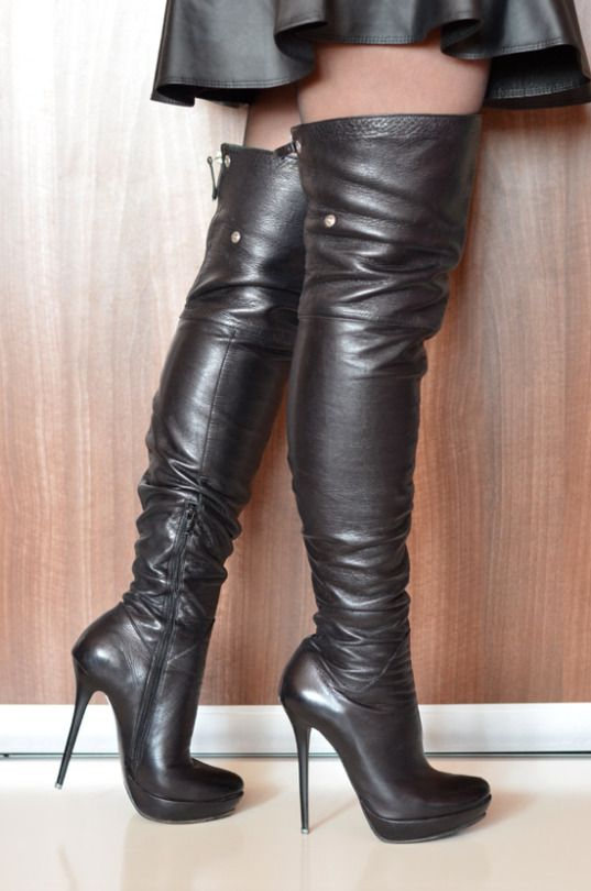 High heels and short leather skirt! Yes! | Boots, Short