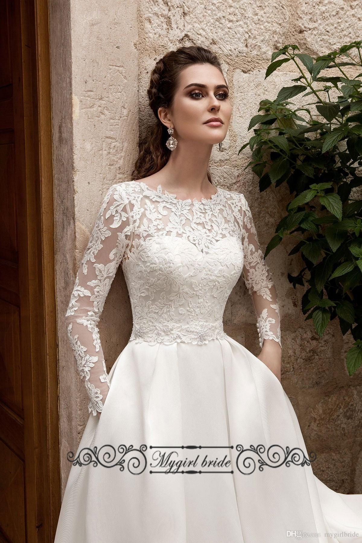 Long Sleeve Satin Wedding Dress With Pockets Vintage Weddnig Dresses
