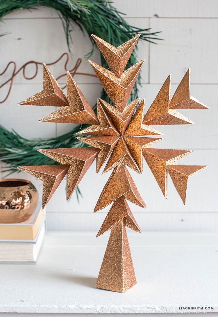 Glitter Paper Star Tree Topper Diy Christmas Tree Topper Diy Tree Topper Diy Christmas Tree