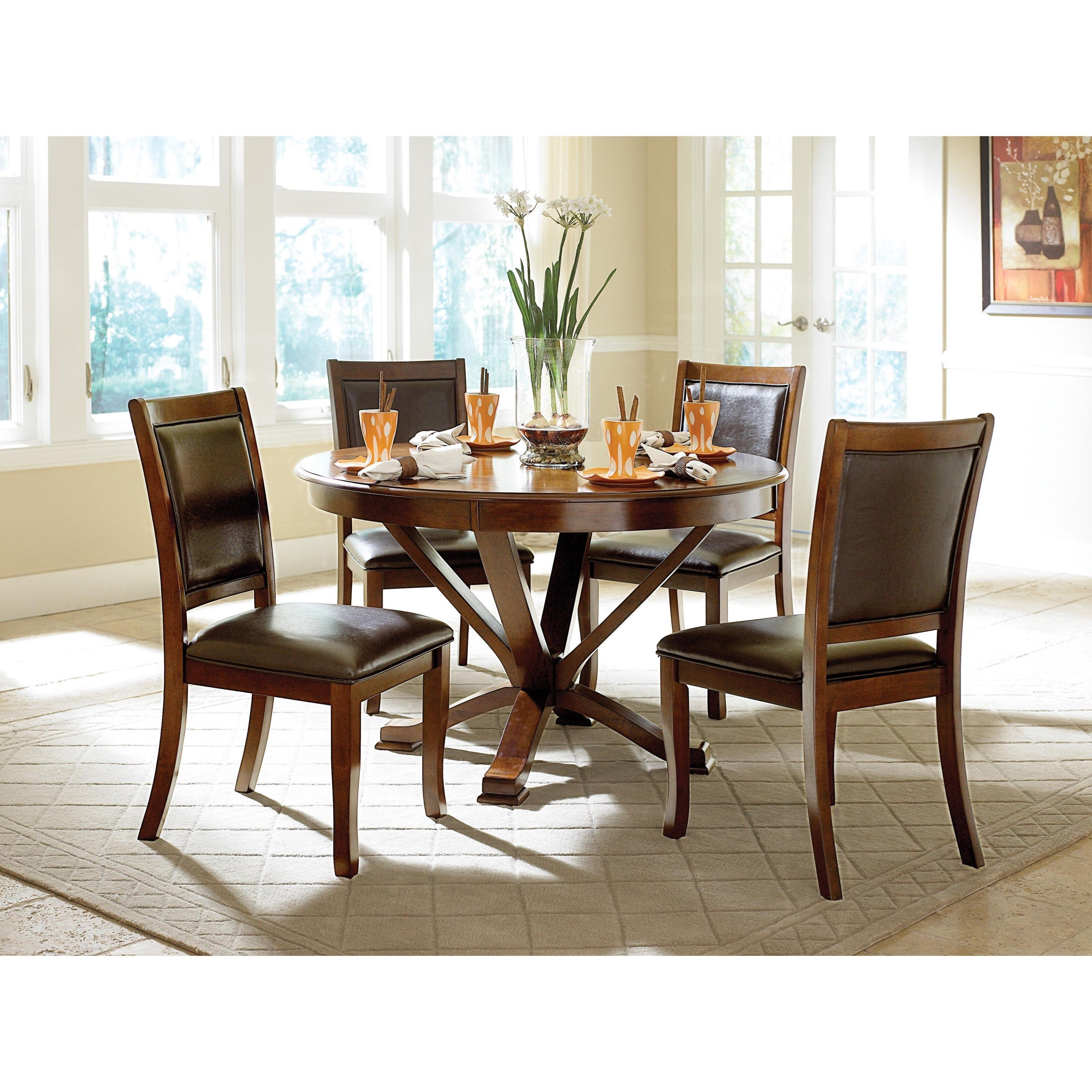 Helena Transitional Round Table And Chair Set With Upholstered