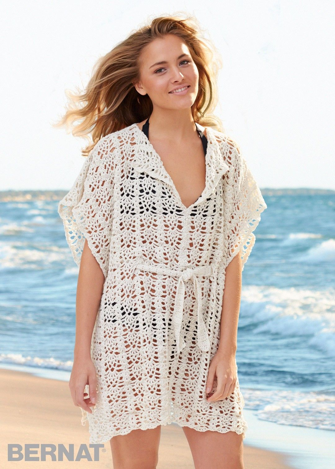 Free Beach Cover-Up crochet pattern at Yarnspirations, up to 5X. DK ...