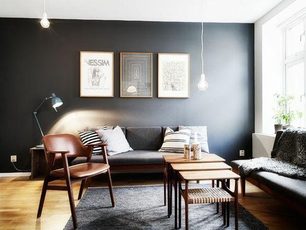 Wände Streichen Farbideen Schwarze Akzentwand Holzrahmen, Wandfarben Ideen  Wohnzimmer, Wandfarbe Wohnzimmer, Graue Wandfarben