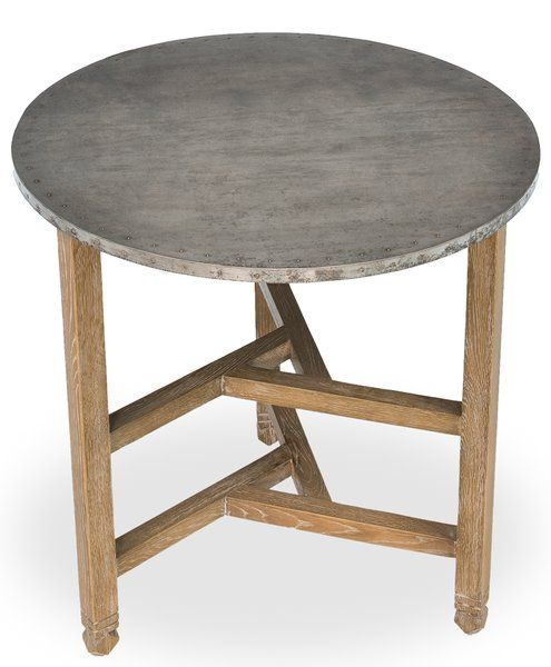 Accent Table W Round Galvanized Tin Top Oak Base Circular Table Table Modern Accent Tables