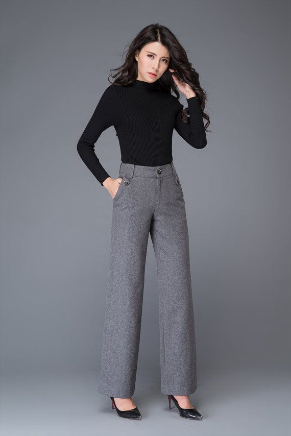7fad13788c High waisted pants, maxi pants, grey wool pants, wide pants, suit pants, womens  trousers, formal pan