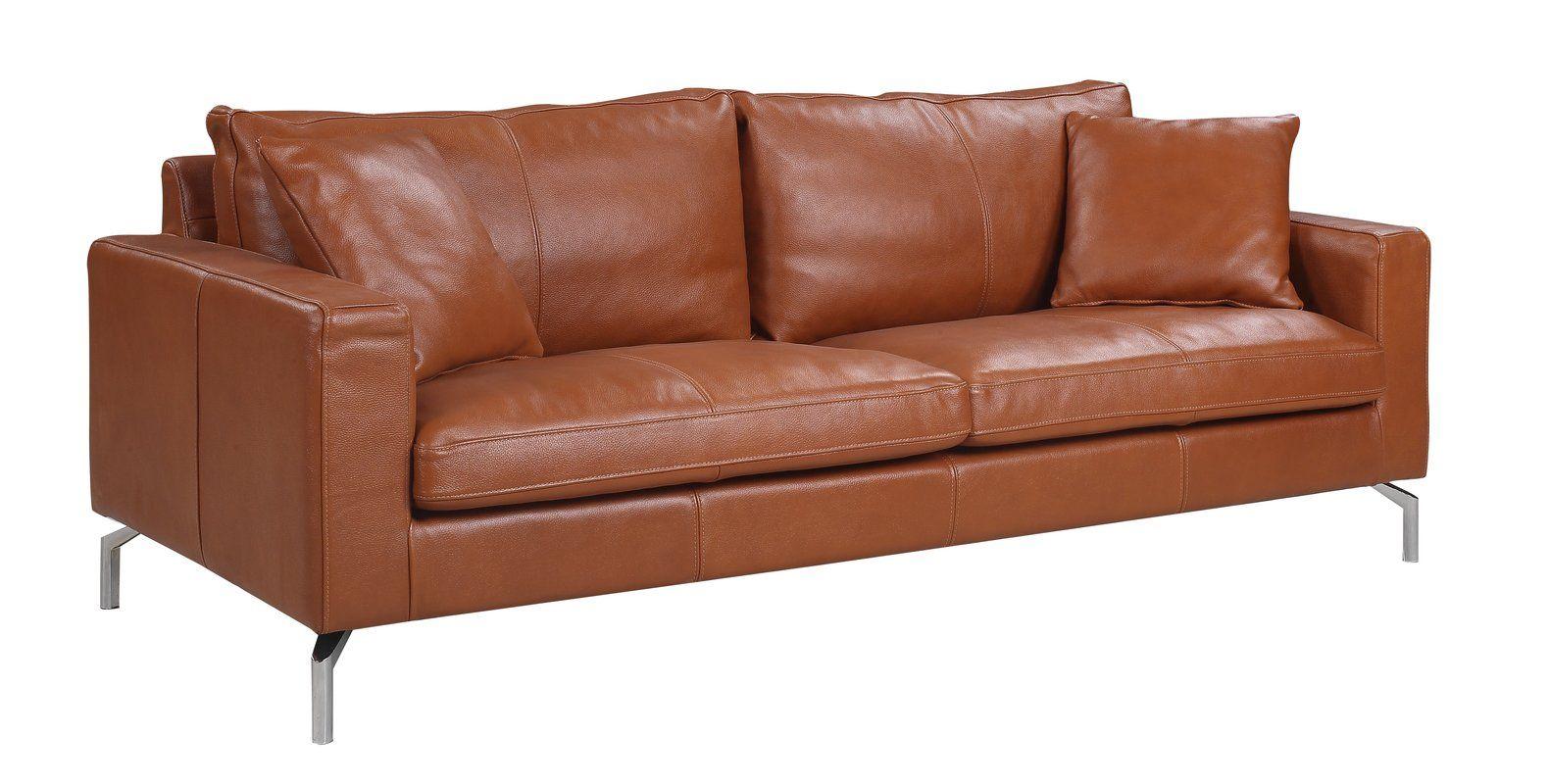 Best Nyyear Mid Century Modern Plush Top Grain Leather Sofa Mid Century Modern Leather Sofa Modern 640 x 480
