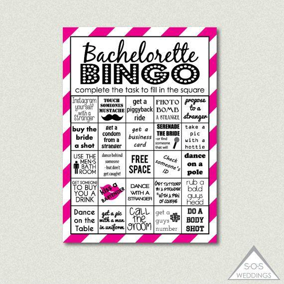 Hot Pink Bachelorette Bingo Cards Printable Party Bachlorette Challenge Pdf