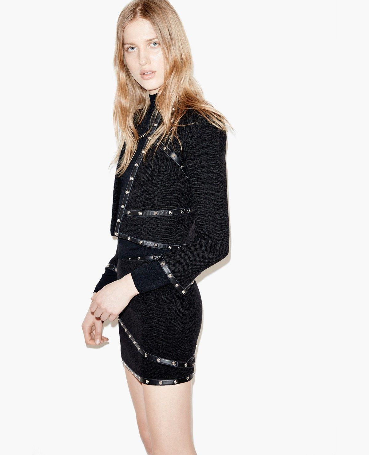 Short hopsack jacket with studded leather details The