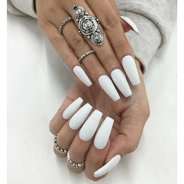 Chaun P On Instagram Another Look At This All White Matte For Queenpee White Coffin Nails White Acrylic Nails Long White Nails