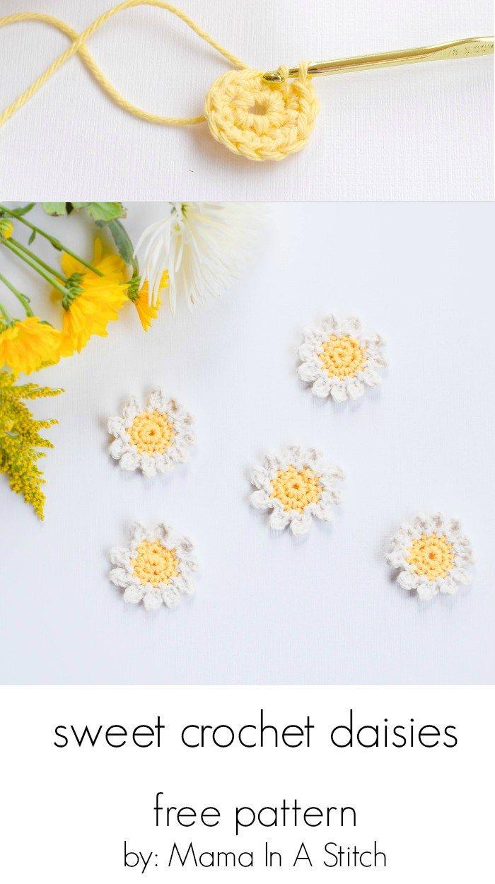 Free Pattern for Easy Crochet Flowers Daisies | gorros tejidos ...