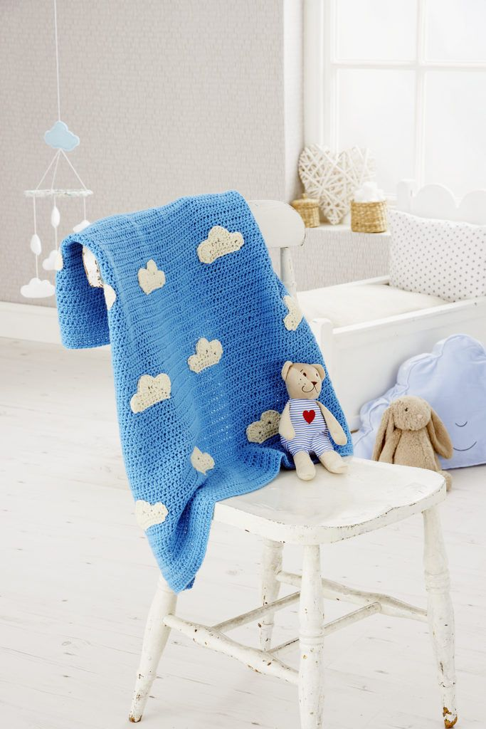 Baby Blanket Hand Knitted Crochet Blue White LINED Moses Basket Pram Cot Boys