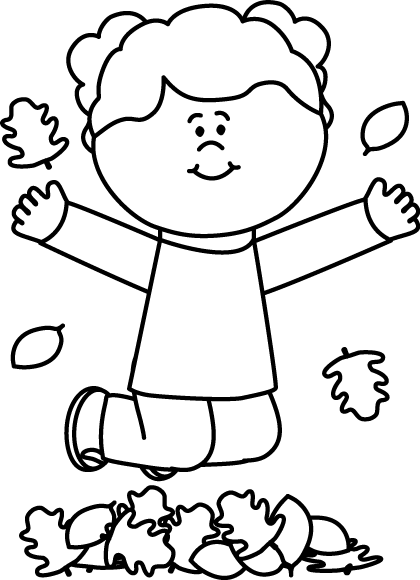 Black And White Girl Jumping In Leaves Black And White Girl Preschool Crafts Fall Leaf Coloring Page