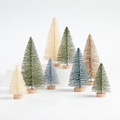 Sage And Silver Bottle Brush Christmas Trees Set Of 8 Reviews Crate And Barrel In 2020 Bottle Brush Christmas Trees Christmas Mantel Decorations Christmas Tree Themes