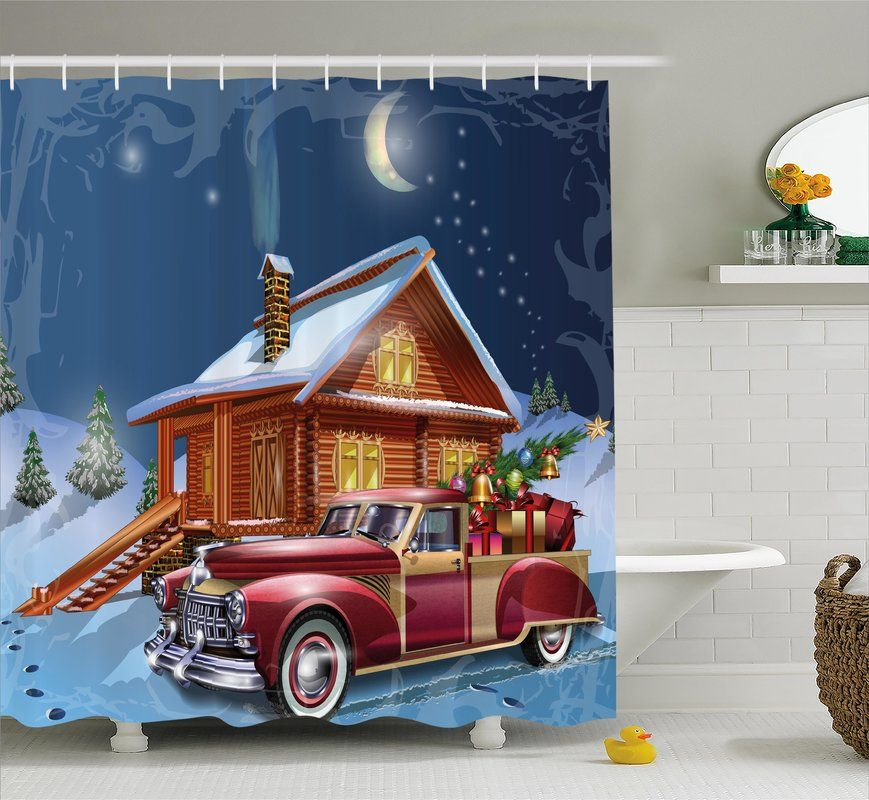 Wooden Lodge With Truck Single Shower Curtain