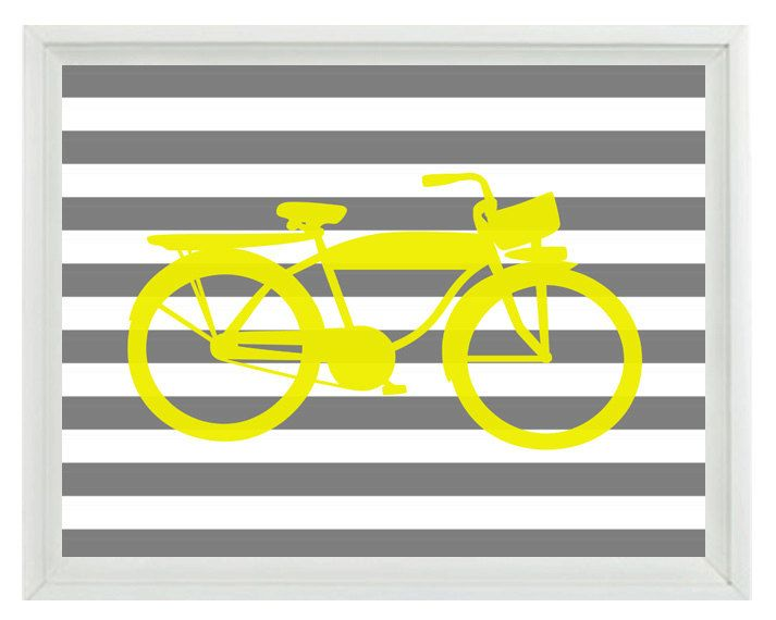 Bicycle Bike Wall Art Print - Yellow Gray Stripes - Nursery Children ...
