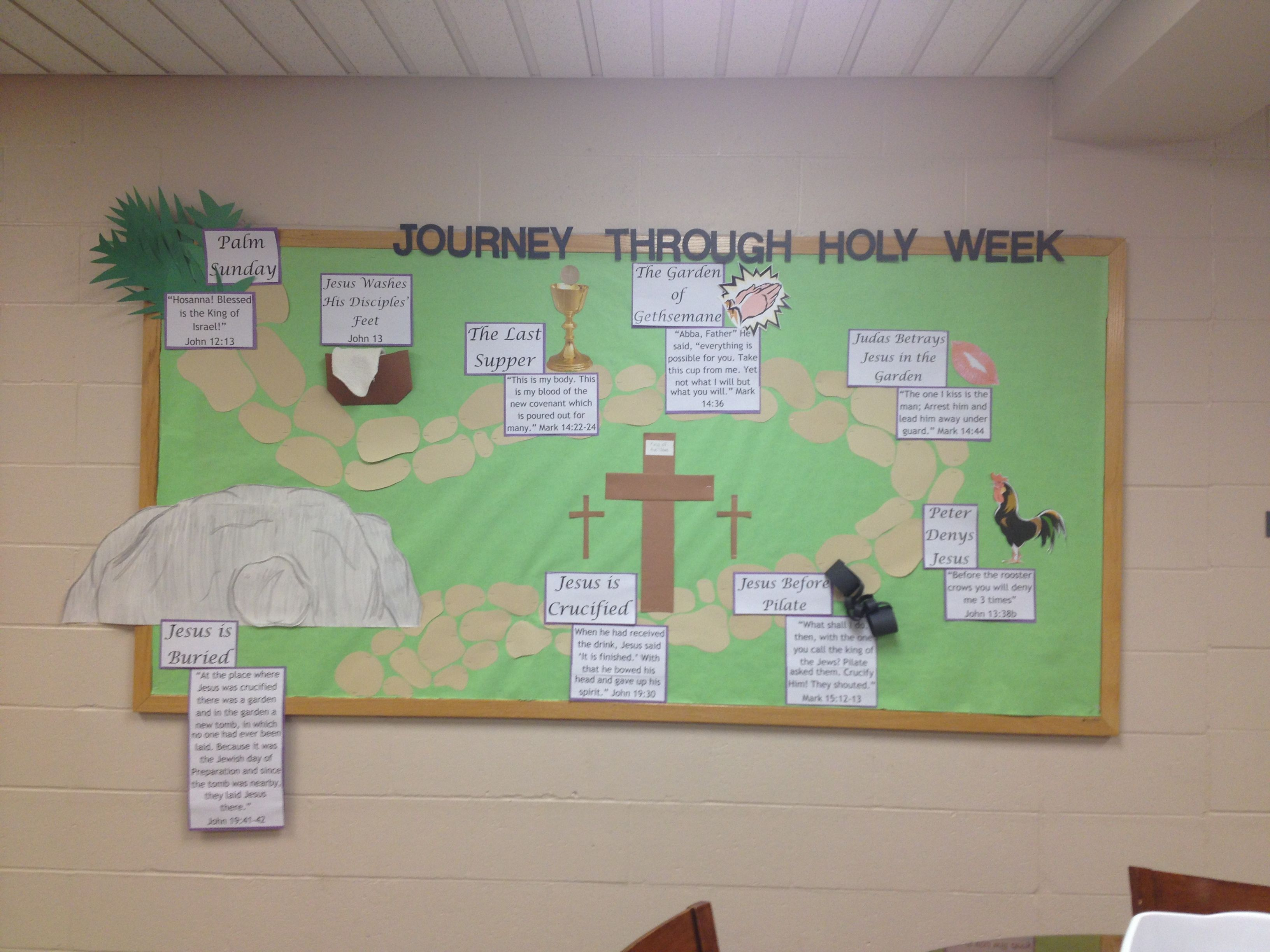 Christian easter bulletin board ideas - Lent Bulletin Board That Tells The Story Of Jesus Last Week Before He Was Crucified