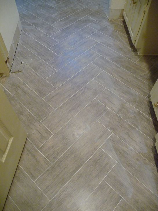 Master bath – the floor that almost sent me over the edge. Herringbone Tile  FloorsHerringbone PatternTile ... - Herringbone Tile And Wood Transition... Also The Colors I Was