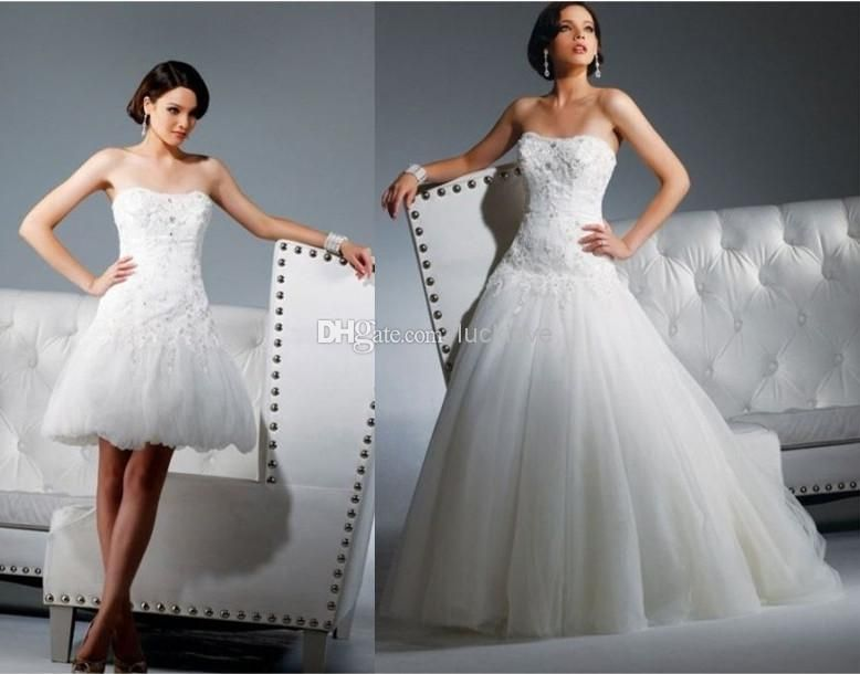 Tulle Ball Gown Wedding Dress: Lace Applique Beads Tulle Strapless Ball Gown 2 In 1