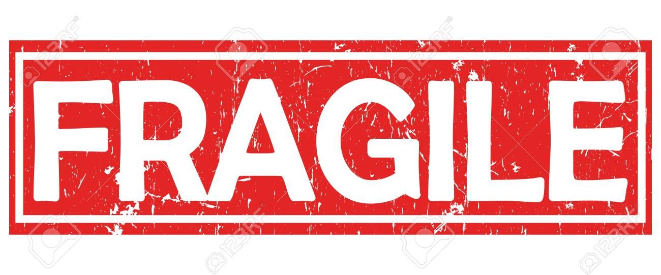 Fragile grunge red and white stamp label sticker for