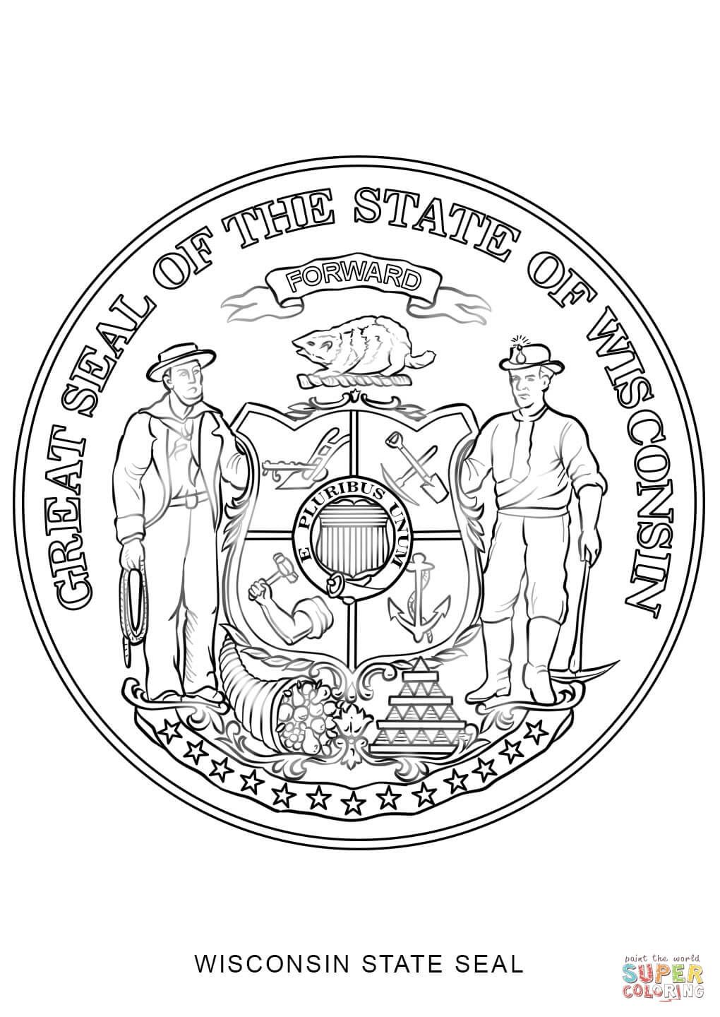 Wisconsin State Seal Coloring Page From Wisconsin Category Select