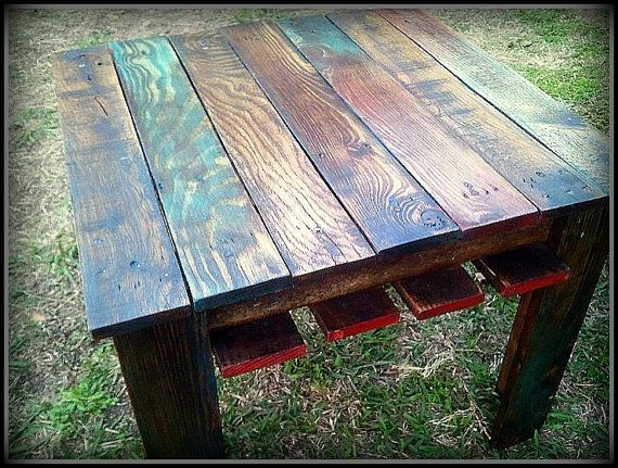Captivating Custom Multi Color Reclaimed Pallet Wood Side Table