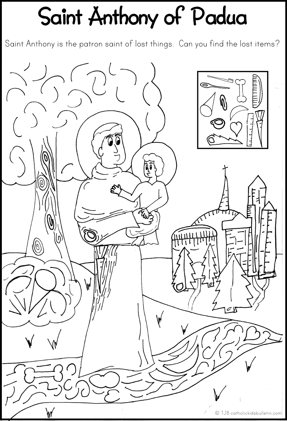 saint anthony of padua coloring page and hidden pictures