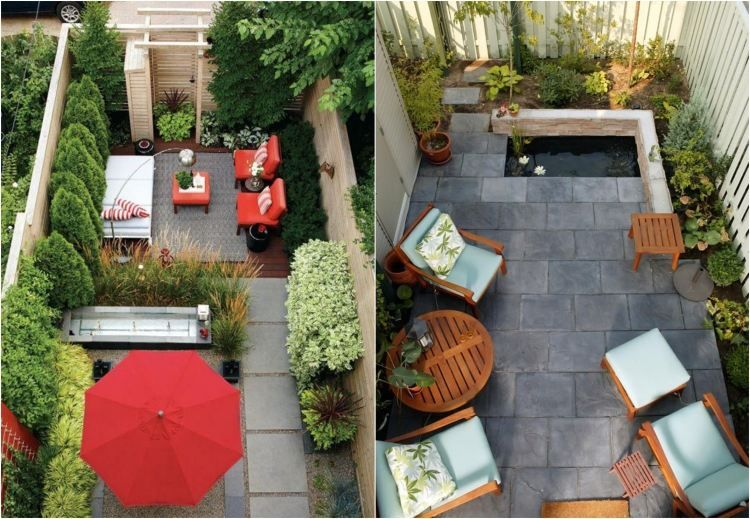 amenagement de petit jardin sur la terrasse avec meubles en bois