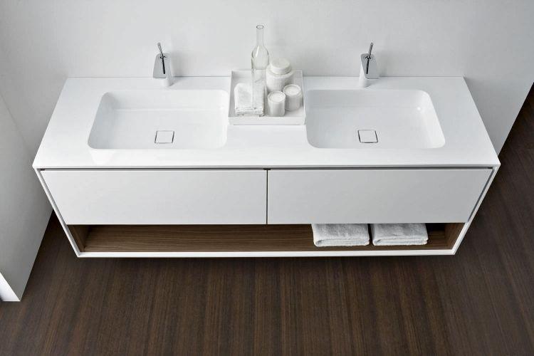 Badezimmermöbel Doppelwaschtisch ~ Weißer doppelwaschtisch mit schubladen und regal badezimmer