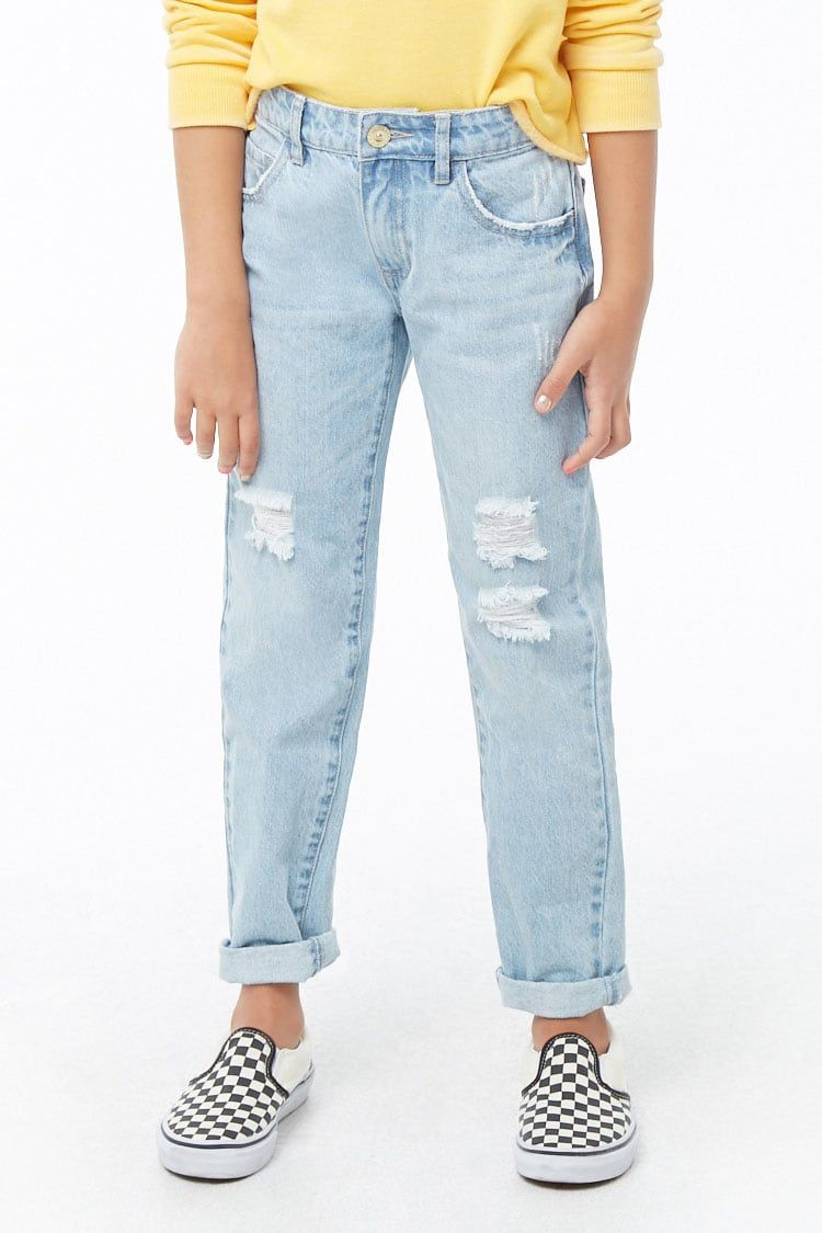 Girls Distressed Jeans (Kids) in 2020   Mom jeans outfit
