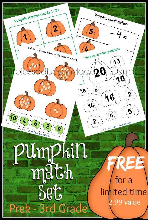 free pumpkin math prek 3rd value fall educational ideas pinterest. Black Bedroom Furniture Sets. Home Design Ideas