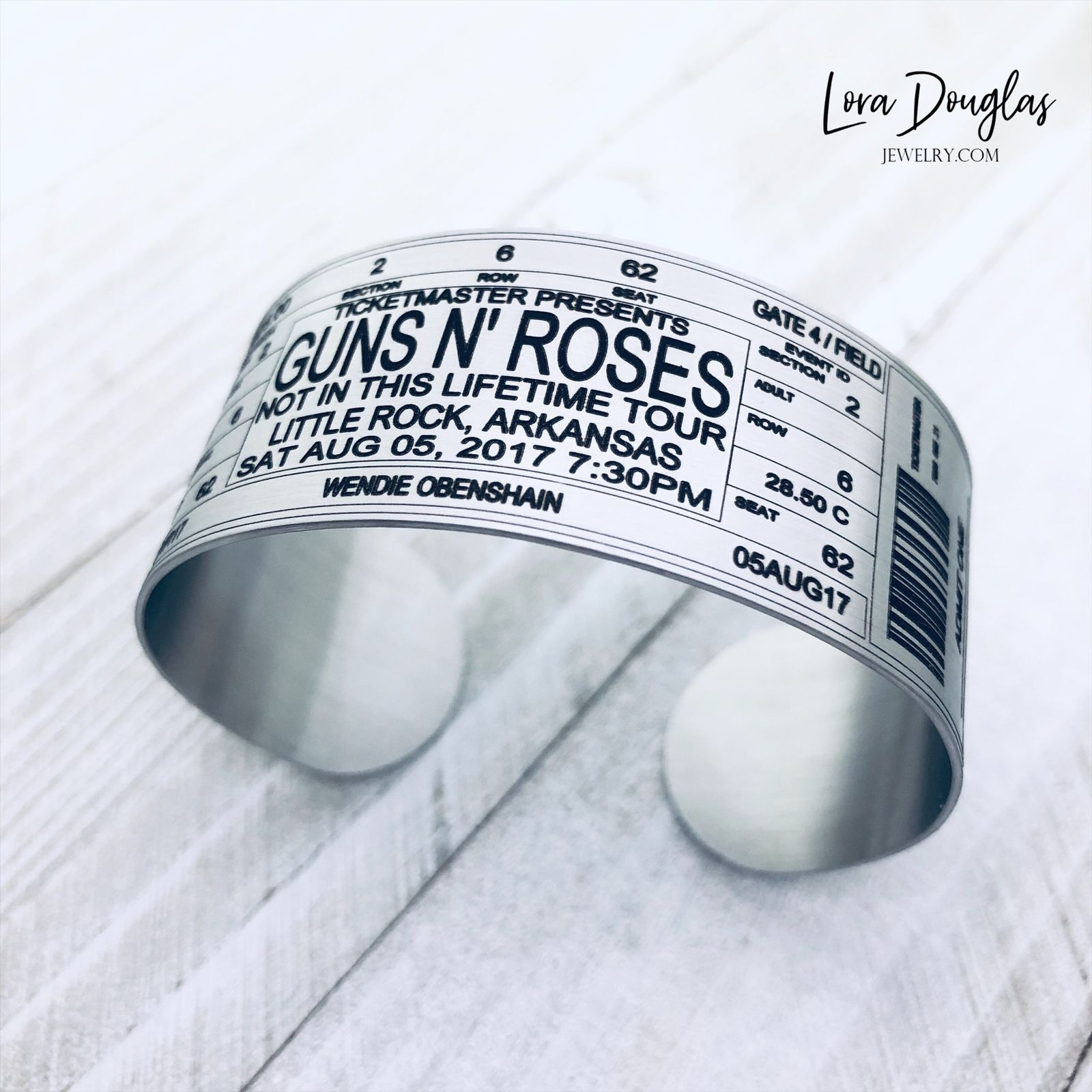 Guns N' Roses • Not In This Lifetime Tour • Little Rock Ark⁠. We can permanently laser engrave any ticket on a #bracelet #bookmark or #keychain • Link in Bio  #concert #livemusic #music #laserengraving #favoritesong #myloradouglasjewelry #rocknroll #engraving #axlrose #headbangersball #handmade #ticket #mtv #the80s #musicphotography #jewelry #jewelryisfun #concertphotography #gunsnroses #gnr #slash #rock #notinthislifetime #gnfnr #amplified #metallica #aerosmith #bonjovi #defleppard #vanhalen