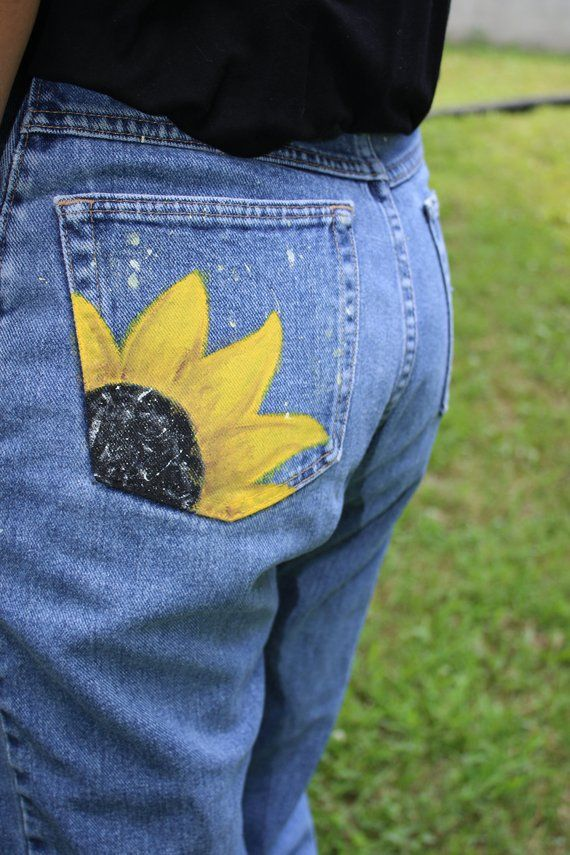 e051b943f0 Upcycled Jeans // Hand Painted Sunflower Pocket // Summer, Festival,  Casual, Boho // Size 8