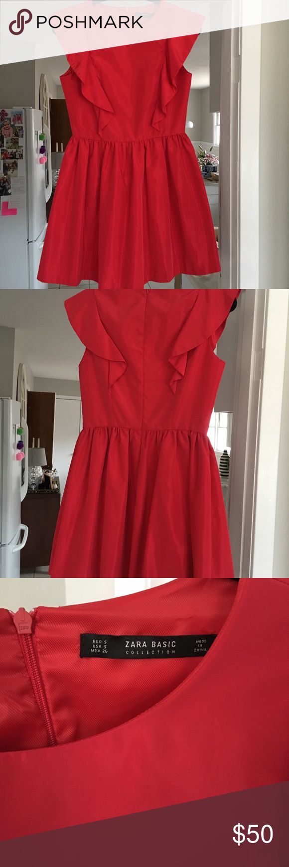Zara red ruffle dress perfect valentineus day ruffle dress