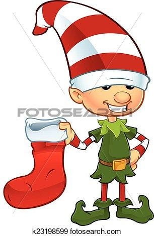 Cute Elf - Holding Stocking View Large Clip Art Graphic ...