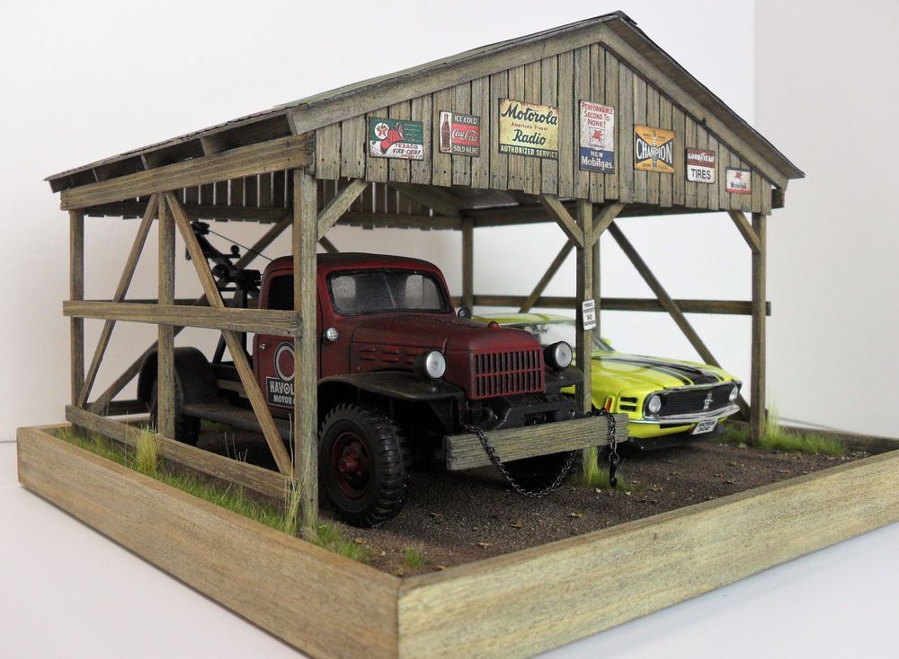 1 24 1 25 Danbury Mint Franklin Mint Barn Garage Carport Diorama W Lights Diorama