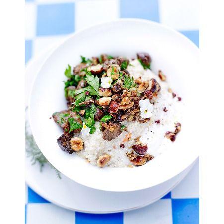 Risotto de quinoa creme d amande mousserons et noisettes