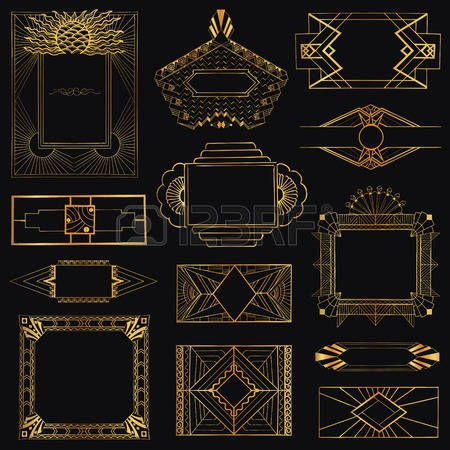 Art Deco Design Elements art deco corners clipart digital clip art, instant download