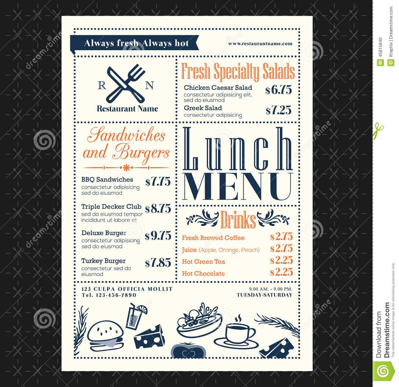 lunch menu templates free koni polycode co