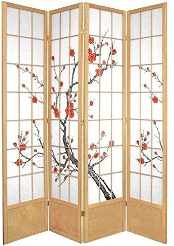Oriental Furniture 7 Ft Tall Cherry Blossom Shoji Screen Natural 4 Panels In 2020 Shoji Room Divider Room Divider Shoji Screen