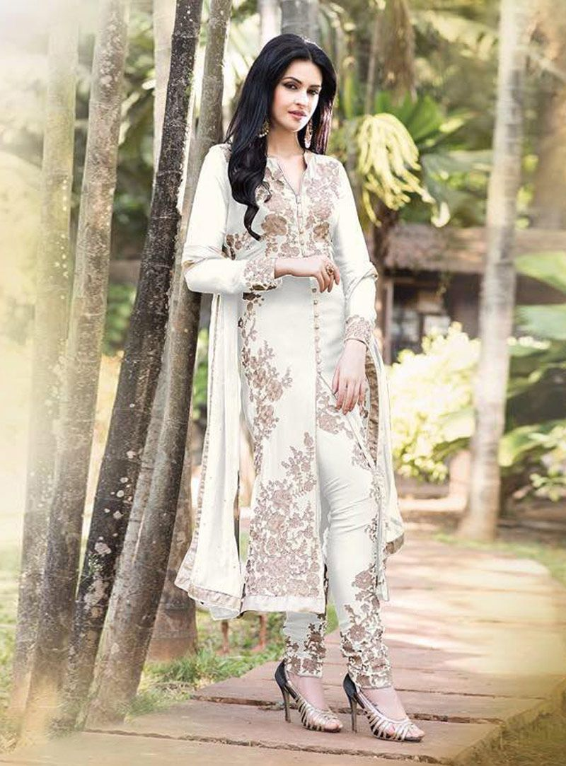 Buy off white georgette pakistani style suit online at lowest
