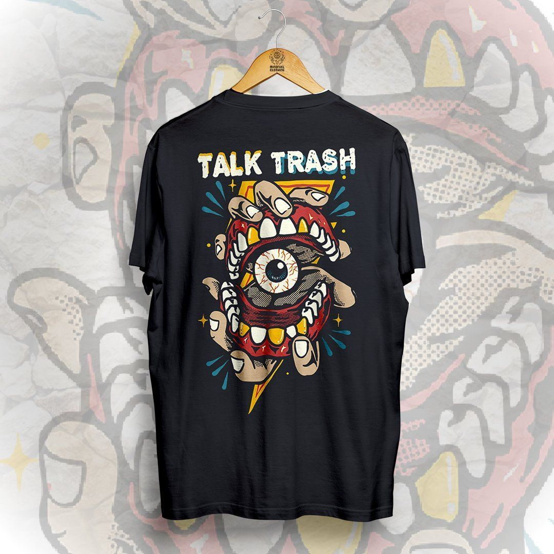 74b1f55b TALK TRASH BACK PRINT DESIGN WITH POCKET PRINT 100% COTTON BLACK T-SHIRT  MODERN FIT / UNISEX T-SHIRT SHORT SLEEVES, CREW NECK PRINTED AND DISPATCHED  FROM ...