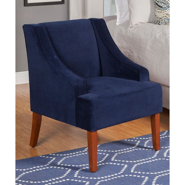 HomePop Navy Swoop Arm Accent Chair (180 CAD) ❤ Liked On Polyvore Featuring  Home