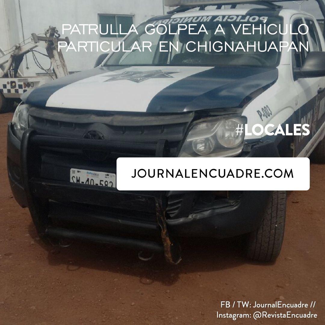 Revista Encuadre » Patrulla golpea a vehículo particular en Chignahuapan